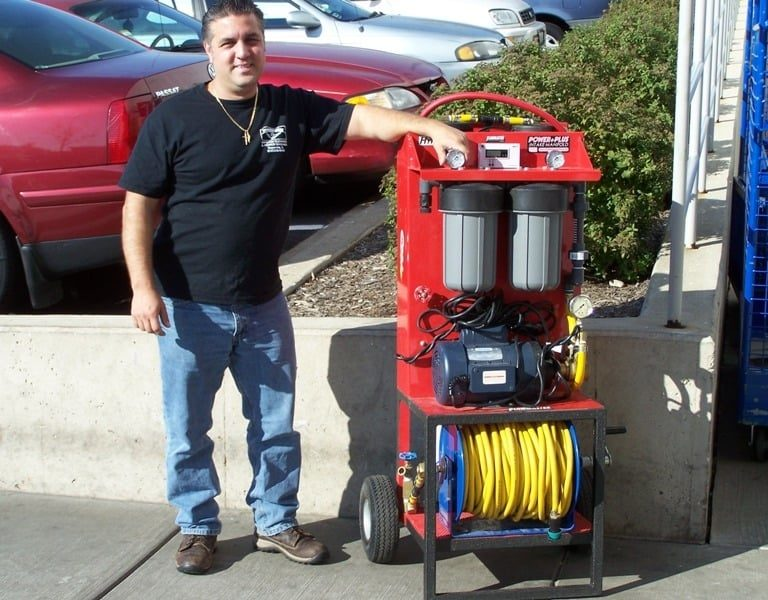 Photo of Powerhouse Pete with pure water system device
