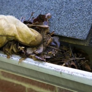 Photo of hand with glove on removing leaves from a house roof gutter