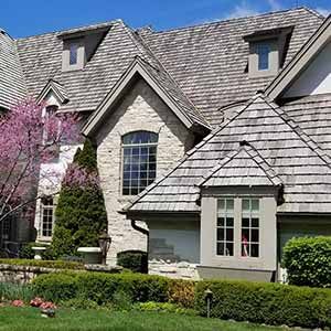 Photo of soft washed roofing cleaning
