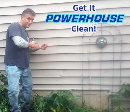 Freshly cleaned siding soft washed by Powerhouse