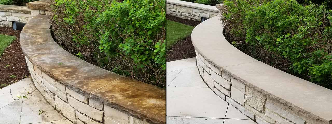 Stone patio paver and wall topper before and after soft washing