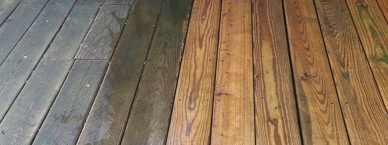 Picture of Deck Soft Washing Before and After