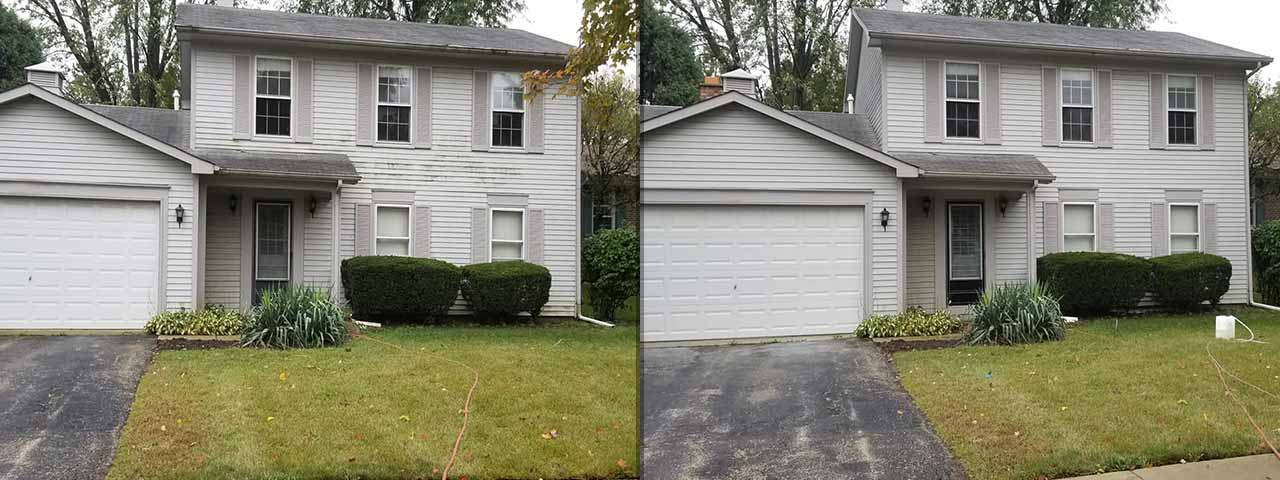 Picture of Soft Washing Exterior Siding Before and After