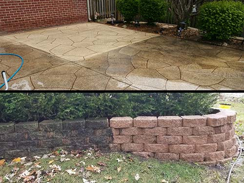 Photo of before and after brick and stone soft washing cleaning and restoration