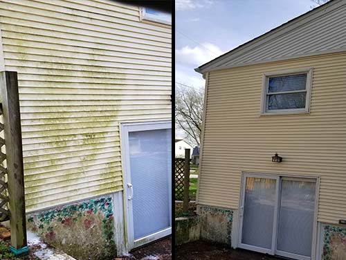 Photo of before and after residential home vinyl siding power washing, cleaning and restoration