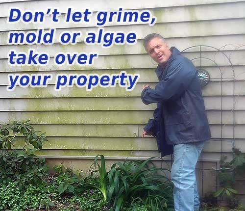 Photo of Powerhouse Pete pointing to dirty siding with text that says don't let grime, mold or algae take over your property